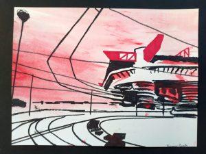 2020 San Siro rosso 24x32cm tecnica mista su carta 8