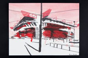 2021 San Siro rosso 24x32cm tecnica mista su carta 9