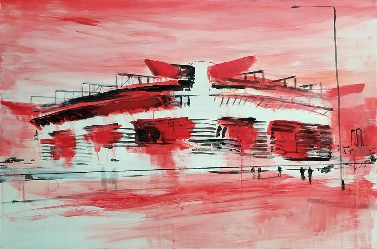 2021 San Siro rosso 80x120cm tecnica mista su tela