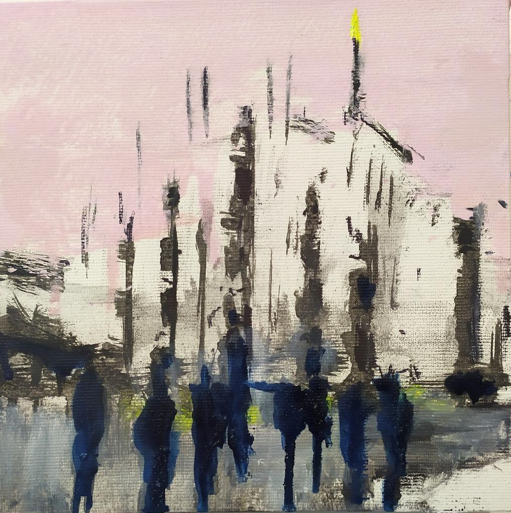 2021 Piazza Duomo 20x20cm olio su tela