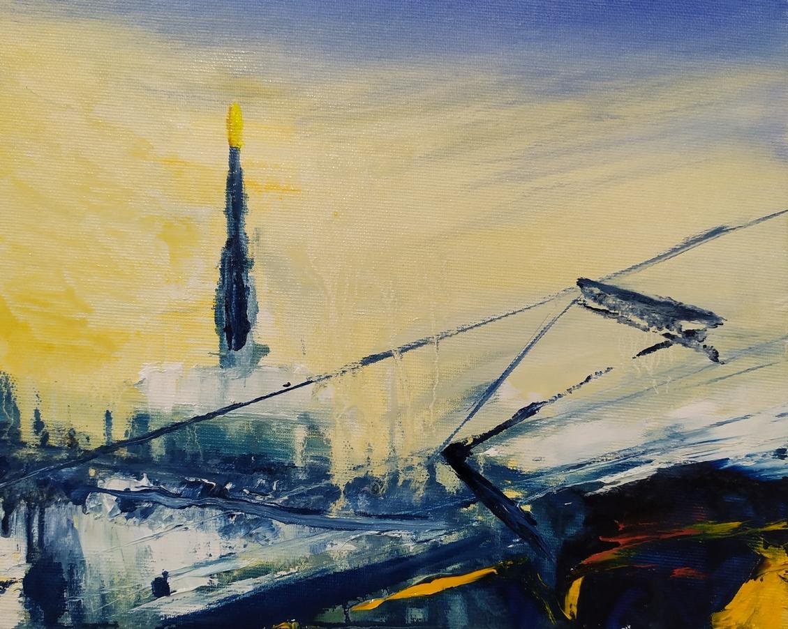 2021 Tram in Duomo 24x30cm olio su tela