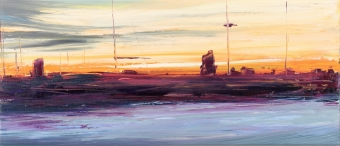 Francesco-Zavatta-2018 tramonto nuova darsena 40x80cm oil on canvas