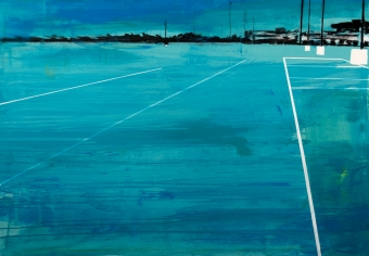 2019 Parking blue 140x200cm tecnica mista su tela